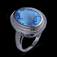 Special Gift Thanksgiving Oval 12x16mm 14Kt White Gold Diamond Topaz Engagement Ring SR00153