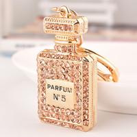 High Quality Fashion Car Keychain Bag Charm Rhinestone Metal Keyring Key Holder Creative Perfume Bottle Key Chain Ring
