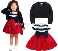 2014 Autumn models girls fashion big bow striped dress + Long-sleeved jacket 2pcs/set,free shipping
