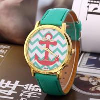 New Arrive Fashion Golden Case boat Anchor Pattem Quartz Wristwatch,Women Dress Watches Leather watch