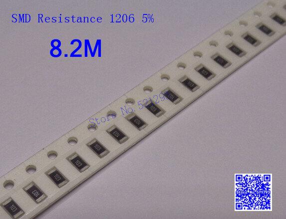 SMD Resistors 1206 8.2M 8.2M ohm 1/4W 5% Chip resistor 500PCS/LOT(China (Mainland))