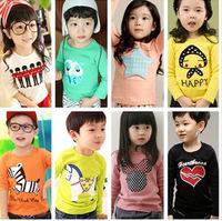 Children Clothing2014 Korean Spring Autumn Fashion Long Sleeve Cotton T shirt For Girls/Boys  Kids Shirts Top /Baby Boy T-shirts