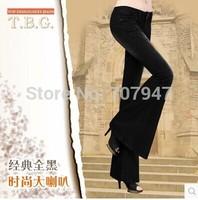 Full black low-waist elastic slim big horn jeans boot cut female plus size trousers