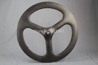 Tri-spoke Wheel Front Wheel Clincher Full Carbon Fiber 3K Matte Warranty 1 year New Sale Track/Time Triathlon Bike Wheel
