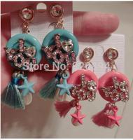 Cute Korean macarons alphabetical sexy red lips diamond tassel fashion jewelry personalized earrings star earrings mini bow
