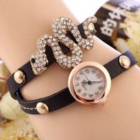 women casual watch wristwatches relogios feminino fashions PU leather snake drill colorful luxury brand watch hot sale  SL12