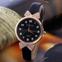 3FH16 New Fashion Crystal bowknot Style Girl's Wristwatch Women Dress Watches 6 colors Rhinestone Watch Quartz watch