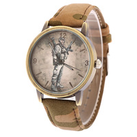 Hot! New Fashion Army combat watches Comic dial Leather Strap Watch Men's Military camouflage watches Quartz wristwatch