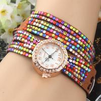 New Arrival Colorful crystal Long Leather Wristwatch,Bohemian Style Women Dress Watches Full Rhinestone Bracelet Quartz Watch