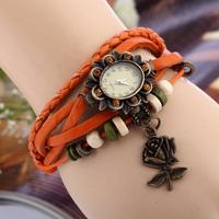 Popular bracelet Wind leather watches Crystal dial Rose pendant Women Dress Watch Casual Quartz Wristwatch