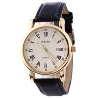 WEITE brand Luxury Man's Wristwatch Adjust Date Leather Strap watches For Men Dress watch golden Case Quartz