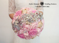 2015 New Hot Sale  Europen Romantic Korean Colorful Mashup Pearl Phinestone Weding Bouquet