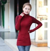 2014 winter knit sweater Turtleneck Long slim Korean Leopard-print long sleeve Primer shirt sweater women