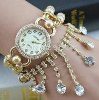 Free shipping 2015 fashion casual 2pcs creative female flowers pearl bracelet watch diamond Wristwatches 8 colors--wq2