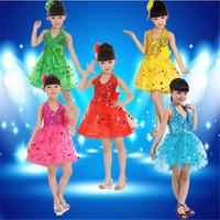 Children Kids Sequins Fringe Stage Performance Yarn Dress Competition Ballroom Dance Costume Latin Dance Dress for Girls LD006