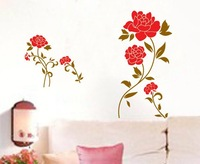 RED FLOWER  wall stickers DIY Decoration removable Parlor Bedroom Stairs Hotels Lounge decor NCJ7066