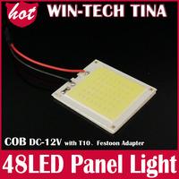 free shipping Wholesale White COB Chip 48smd LED Car Interior Light T10 Festoon Dome Adapter 12V, Car Vehicle LED Panel