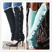 Lady Knee High Knit Flat Lace Trim Button Down Crochet Leg Warmers Boot Socks