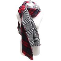 2015  Spain style New black red plaid winter scarf women fashion lady bufandas warm Shawl cap top qualtiy free shipping