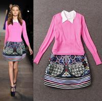 High Quality New Fashion Runway 2014 Autumn Winter Women Pink Sweater Pullover+White Blouse Collar Print Sleeveless Dress(1Set)