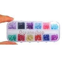 3000 Pcs Round Shiny Nail Art Rhinestones Glitter 12 Mixed Colors Nail Art Glitter with Case Nail Stickers New #1JT