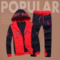 2014 New Mens Sport Suit Korean Casual Hoodies and Sweatshirts Slim Fit Top+Full Tracksuit Sportwear Men Sweatshirt Suit