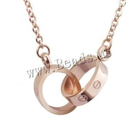 Free shipping!!!Stainless Steel Jewelry Necklace,Trendy Fashion Jewelry, Donut, rose gold color plated, round link chain