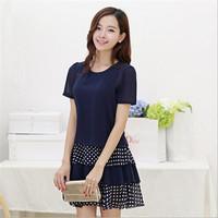 Summer Women Wave Point Chiffon Dress Slim Fashion Female Plus Size Short-sleeved Basic Dress M-4XL  10302