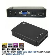 New Full HD 1080P USB External HDD Media Player with HDMI VGA AV SD Support MKV H.264 RMVB WMV AVI MP4 FLV Aluminum Shell(China (Mainland))