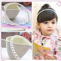 1pc New Fashion Elegant Charming Children Girls Baby Handmade White Pearl Hairpin Bands Free Shipping