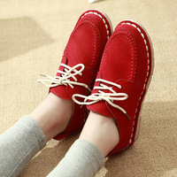 2015 New spring and autumn Candy Color Women shoes Lace-up Flats shoes Fashion Red Black Women Bost shoes