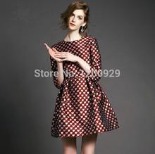 Wonderland New Brand 2015 Women Casual Print 3/4Sleeve Dress Heart Print Bohemian Party Dresses Vestidos Formal  Free Shipping(China (Mainland))