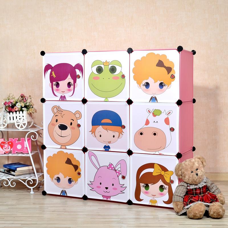 9 cubes Children's cartoon pattern DIY plastic storage cabinets clothing armoire kids closet organizer storage organizers(China (Mainland))