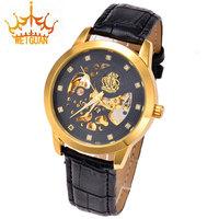 Hot Sale WEIDAN Leather Watch Brand, Rhinestone Military Men Luxury Skeleton Waterproof Mechanical WatchesWG-0055