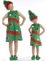 New Year Winter Green Christmas Tree Costumes For Girls Kids Chlidren