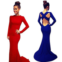 Sexy Women's Long Sleeve Prom Cocktail Party Dress Backless Formal dressFree&Drop Shipping