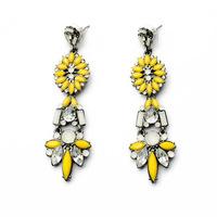 2014 Hot Sale Vintage Luxury Yellow Acrylic Ethnic Earrings For Women Wholesale Jewelry Crystal Drop Earrings Brincos JLE039