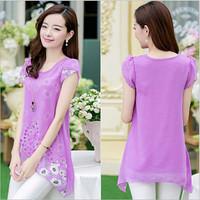 Summer Fashion Women Short Sleeve Chiffon Printed Shirt Plus Size Women Fake Two-piece Stitching T shirt M-3XL 10304