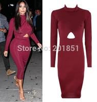 Plus Size S-XXL 2014 Women's Fashion Celebrity Kim Kardashian Knee-Length Long Sleeve  Sexy Hollow Out Bodycon Bandage Dress