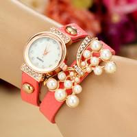 8 Colors New Fashion Pearl Watch Women Dress Watches Leather Strap Watch Women Wristwatches Quartz Watch