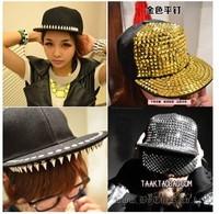 Color rivet punk style hip hop  Adjustable  Hats & Caps flat brimmed baseball Cap Snapback Men Women Hairwear Accessories MD1501