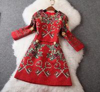 New arrival 2014 women's red jacquard print wrist-length sleeve one-piece dress Deareasy fashion store