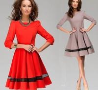 New fashion women party dress solid color round neck pleated dress office work wear vestidos plus size saias femininasLJ159XGJ