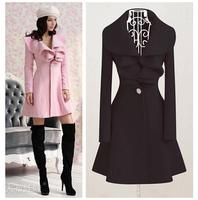 JSS5227  Plus Size Autumn Winter Long Paragraph Women Jacket New 2014 Slim Falbala Woolen Coat