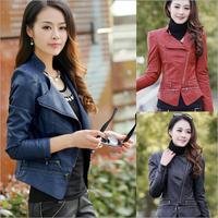 New Brand Women Fashion PU Leather Jacket Slim Ladies Plus Size Zipper Jacket PU Outwear For Autumn Winter  10303