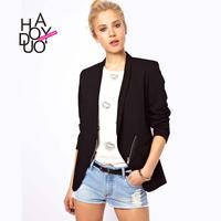 Blazer Women OL Lapel Oblique Zipper Back Cross Black Suit Jacket