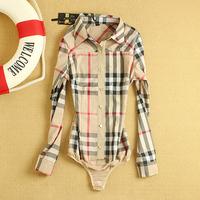 Fanshou Free Shipping 2014 Women Blouses Spring Autumn Long Sleeve Body Shirt Slim Plaid Casual Bodysuit  Women Blusas Plus Size