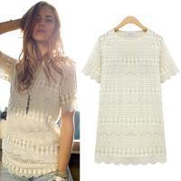European American Style Woman Tops Lace Crochet Short Sleeve Hollow Out Long T-shirt Blusa De Renda Fashion Summer Hotsale 158