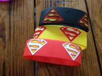Wholesale 50pcs / lot  Superman Wristband Silicone Promotion Gift Filled in Color Bracelet Black  6cm