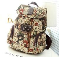 Fashion British preppy style Vintage backpack dukebear shopping bag casual rucksack leisure Student School Travel bag hot sale